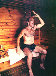From 1983: Dan Gable cools off in his sauna after a run near his Lansing, Iowa cabin.
