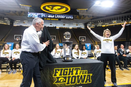 Iowa athletics director Gary Barta, left, discussed recently the financial impact from the big Hawkeye sports year led by coaches Lisa Bluder, right, Fran McCaffery and Kirk Ferentz.