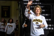 Iowa head coach Lisa Bluder is introduced while the Hawkeyes women's basketball team hosts a Big Ten Tournament title celebration, following the NCAA selection show, on Monday, March 18, 2019, at Carver-Hawkeye Arena in Iowa City, Iowa.