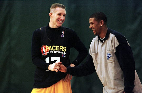 Chris Mullin, left, played three seasons with the Pacers.