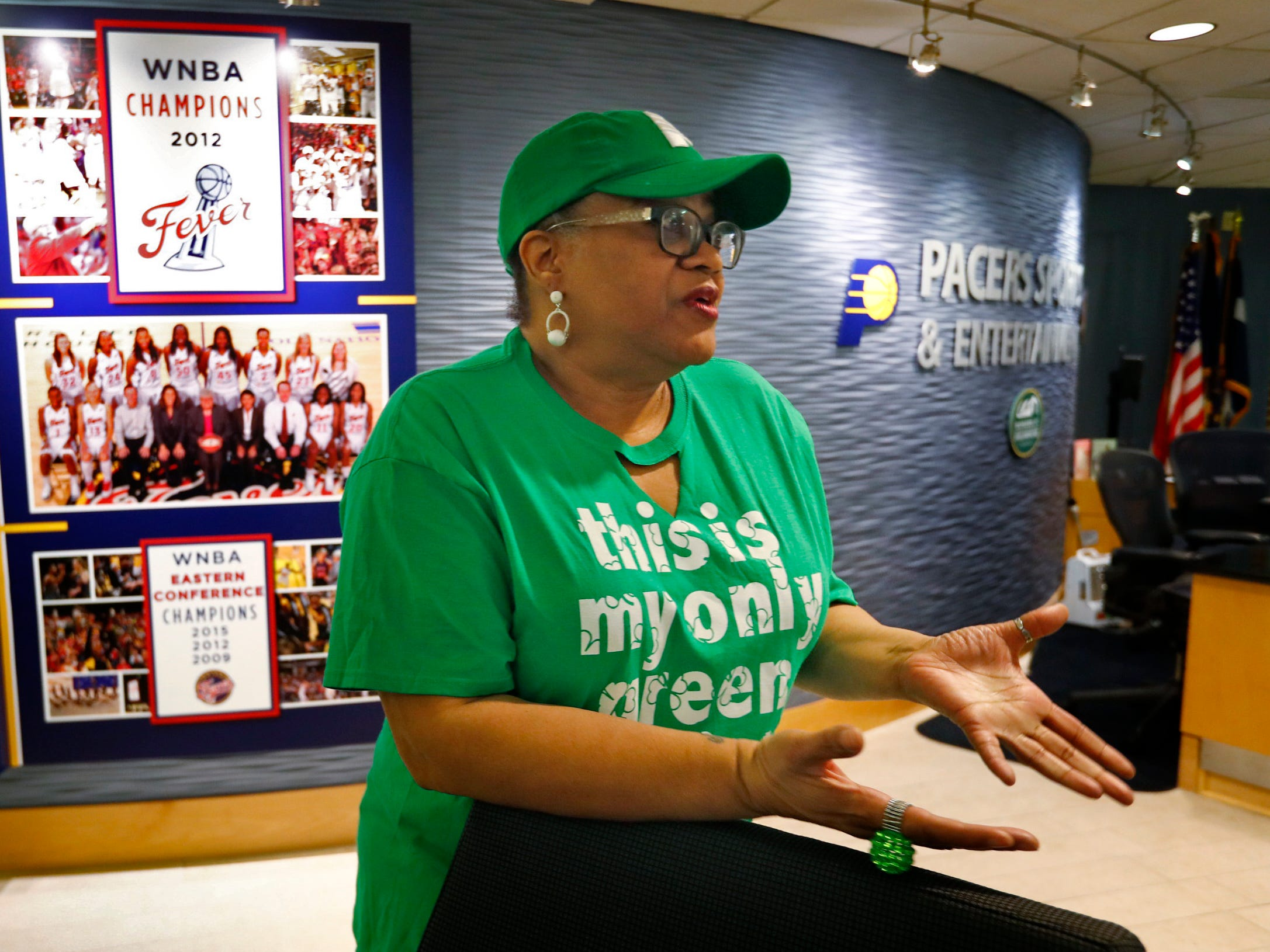 Pacers Sports & Entertainment Receptionist Janice Hinkle talks about her job at Bankers Life Fieldhouse, Friday, March 15, 2019.