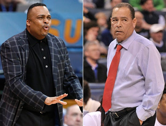 Georgia State coach Ron Hunter (left) and Houston coach Kelvin Sampson (right).
