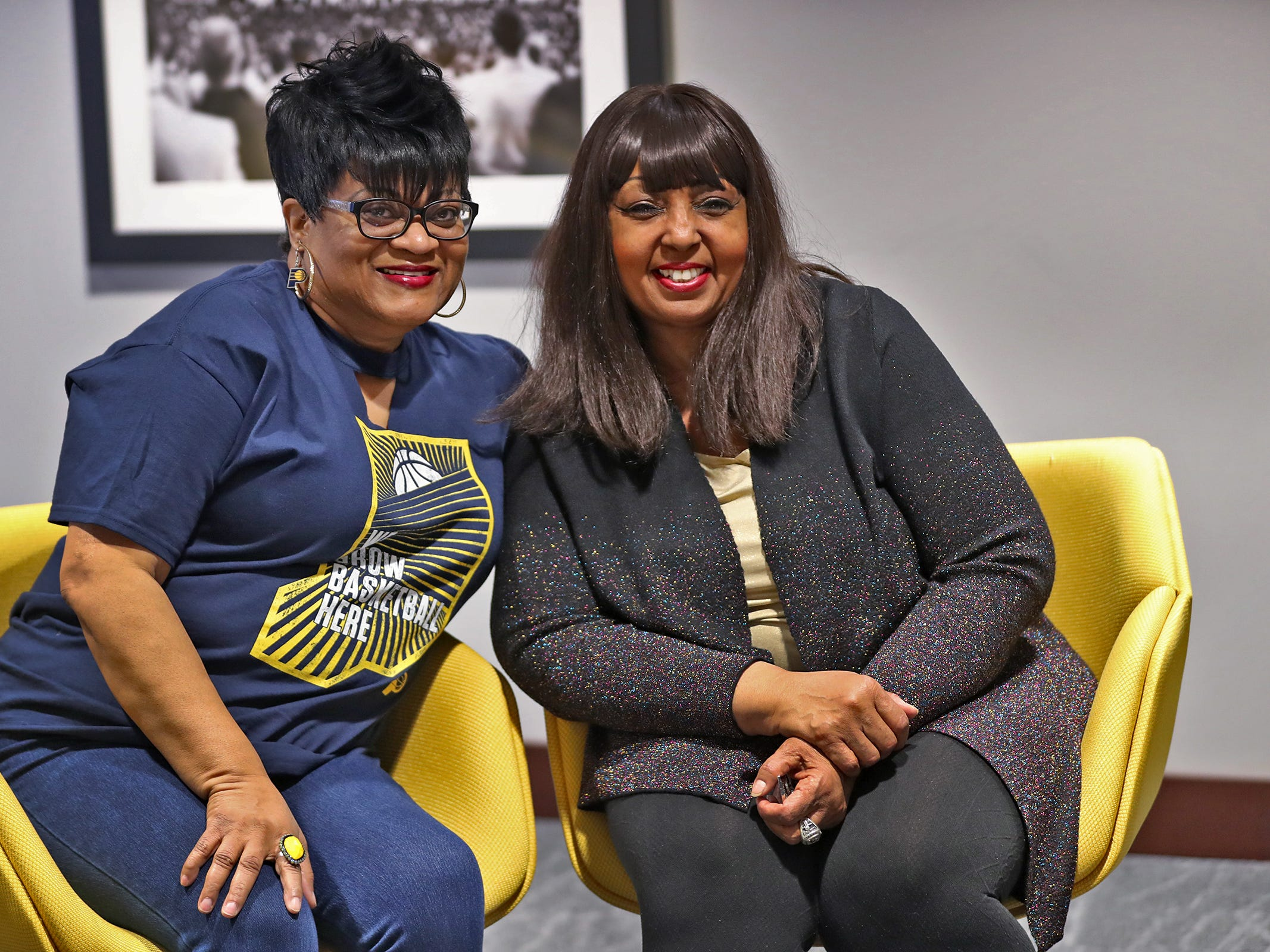 Pacers Sports & Entertainment Receptionist Janice Hinkle, left, and Guest Relations Coordinator Michele Hoosier work at Bankers Life Fieldhouse and are great friends. Friday, March 15, 2019.