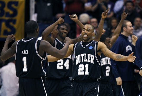 Butler's Willie Veasley (21) celebrates a 2010 Sweet 16 win in Salt Lake City. Veasley is now an assistant coach with North Dakota State.