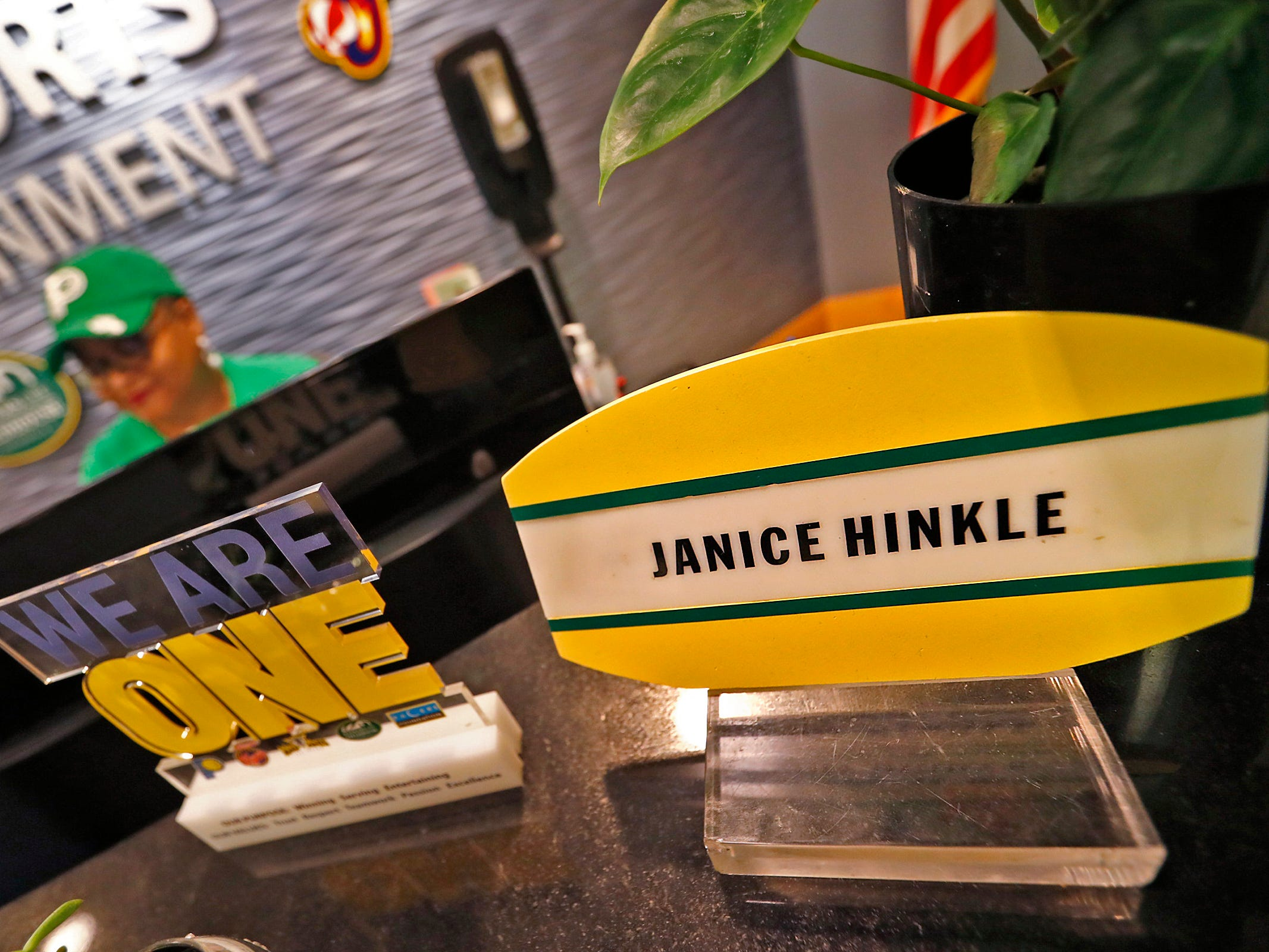 Pacers Sports & Entertainment Receptionist Janice Hinkle works at her desk Bankers Life Fieldhouse, Friday, March 15, 2019.