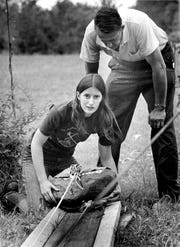 Mary Hyde readies her catapult with the help of her father, David, before the 1976 National Catapult Contest.