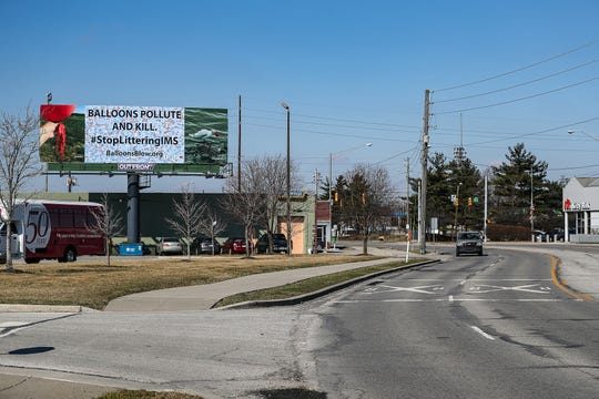 A billboard message calls on Indianapolis Motor Speedway to retire its decades-old tradition of releasing thousands of balloons on race morning, seen on 16th street,  just west of the intersection with Indiana Avenue in Indianapolis on Monday, March 18, 2019. The billboard, commissioned by environmental activism and education website BalloonsBlow.org, was funded by donations and a grant from the Fund for Wild Nature.