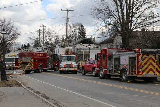 Firefighters responded to a fire at 33 1/2 West Main St. late Monday morning.