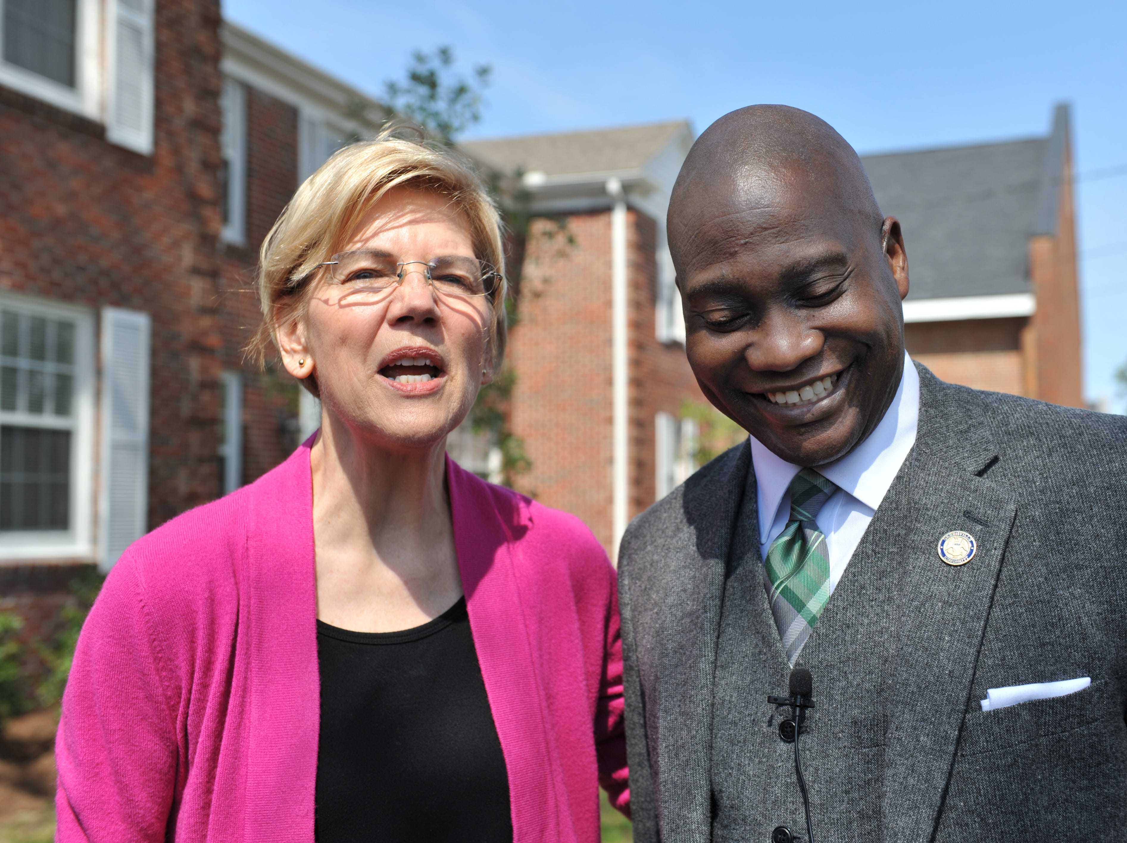 Presidential candidate Sen. Elizabeth Warren, D-Mass., and Greenville Mayor Erick Simmons address media, Monday, March 18, 2019, following a walking tour of Central Street followed by a discussion with members of the Greater Greenville Housing & Revitalization Association. While in Greenville, Warren promoted her affordable housing bill she has rolled out as part of her 2020 campaign for presidency.
