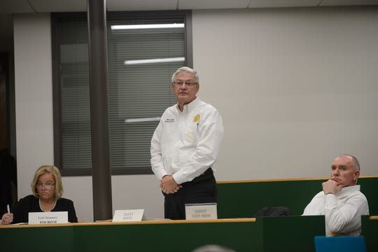 Madison County Sheriff's Office Budget Director Barry Smith speaks during the Madison County Commission meeting March 18.
