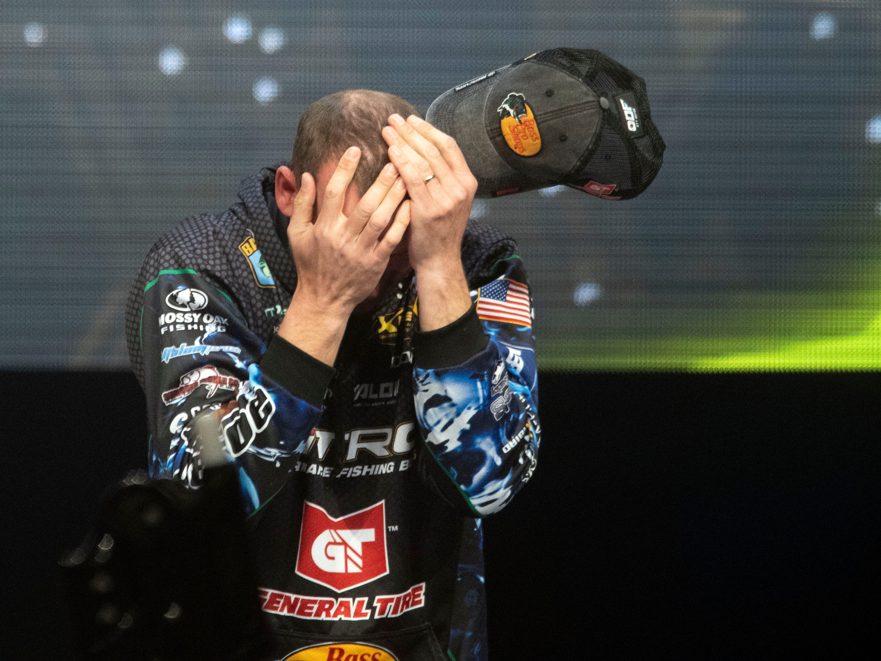Emotions overwhelm Ott DeFoe as he is announced as the winner of the Bassmaster Classic at Thompson-Boling Arena on Sunday, March 17, 2019.