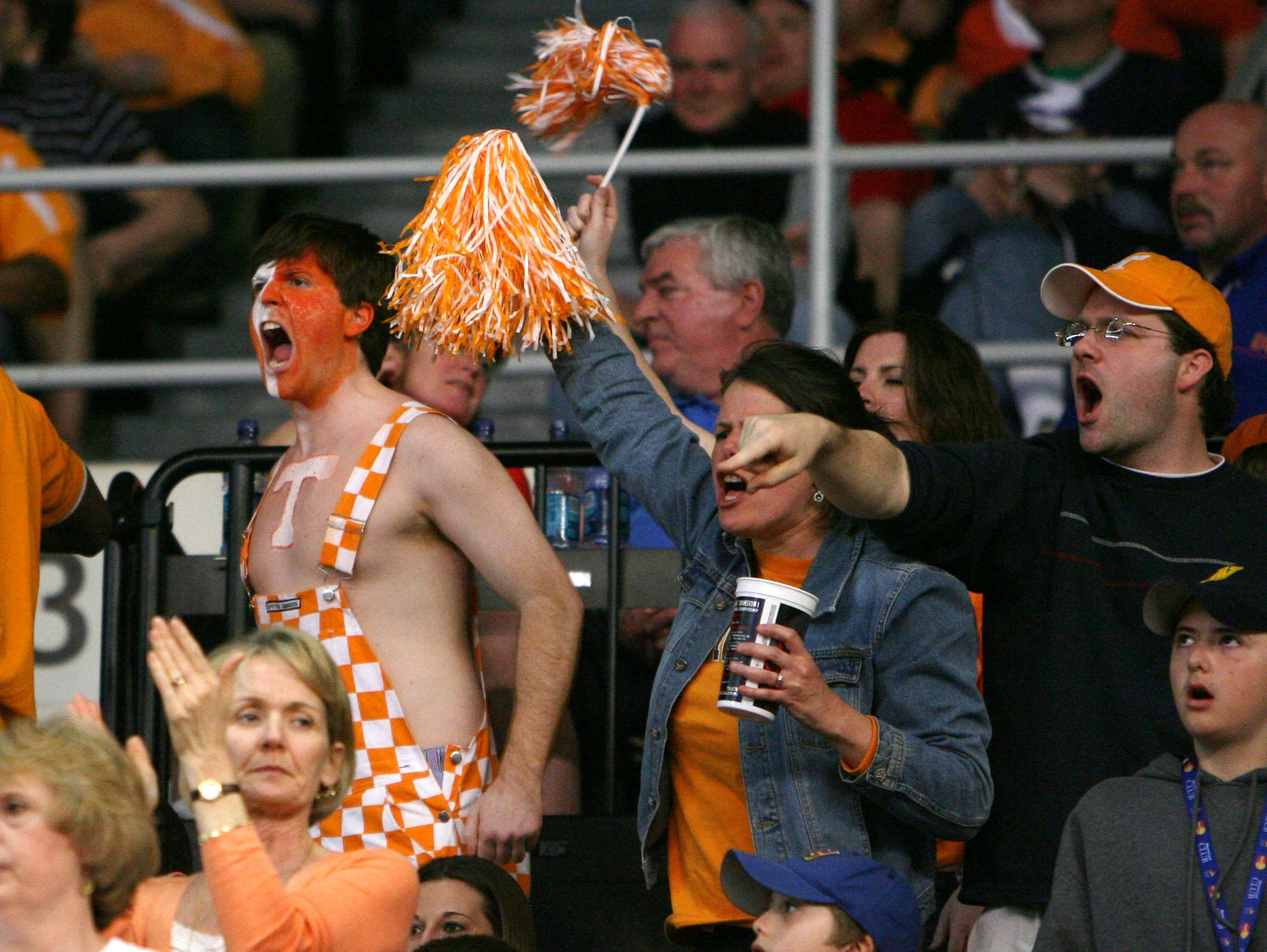 Tennessee fans cheer on the Vols as they take on the Ohio Bobcats during the second round of the NCAA tournament in Providence, R.I. Saturday, Mar. 20, 2010.