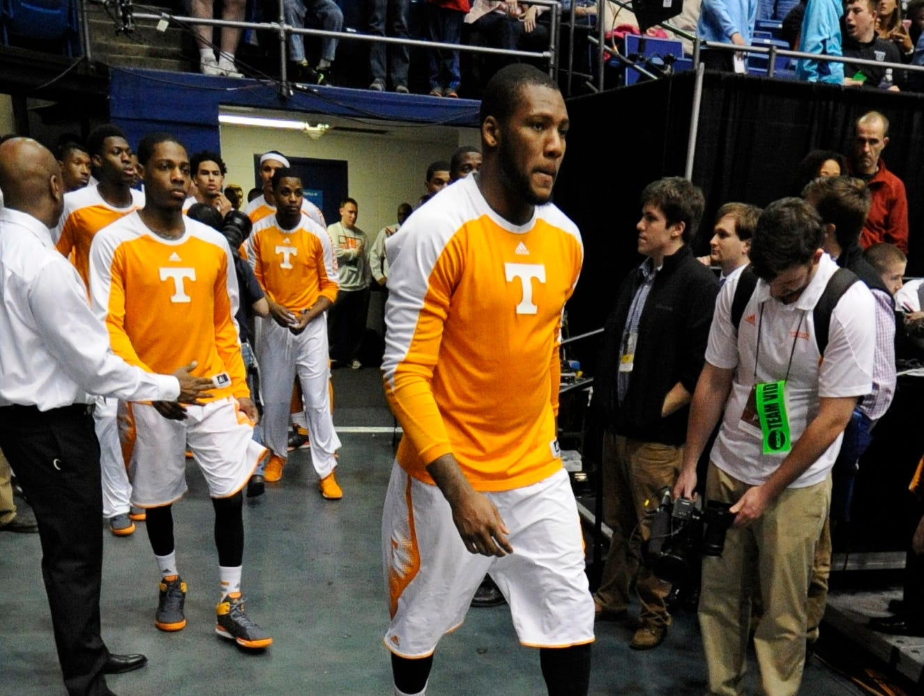Tennessee forward Jeronne Maymon (34) takes the court with teammates before an NCAA tournament First Four play-in game against Iowa at the University of Dayton Arena in Dayton, Ohio on Wednesday, March 19, 2014.