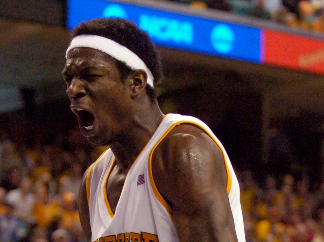 UT's Major Wingate celebrates after dunking the ball against Winthrop during a first round NCAA tournament game Thursday at the Greensboro Coliseum in Greensboro, N.C. The Vols won the game 63-61. Wingate lead the Vols with 15 points.2006