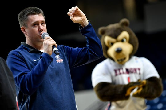 Belmont head coach Bart Brooks speaks during their NCAA Tournament selection party at the Curb Event Center in Nashville, Tenn., Monday, March 18, 2019.