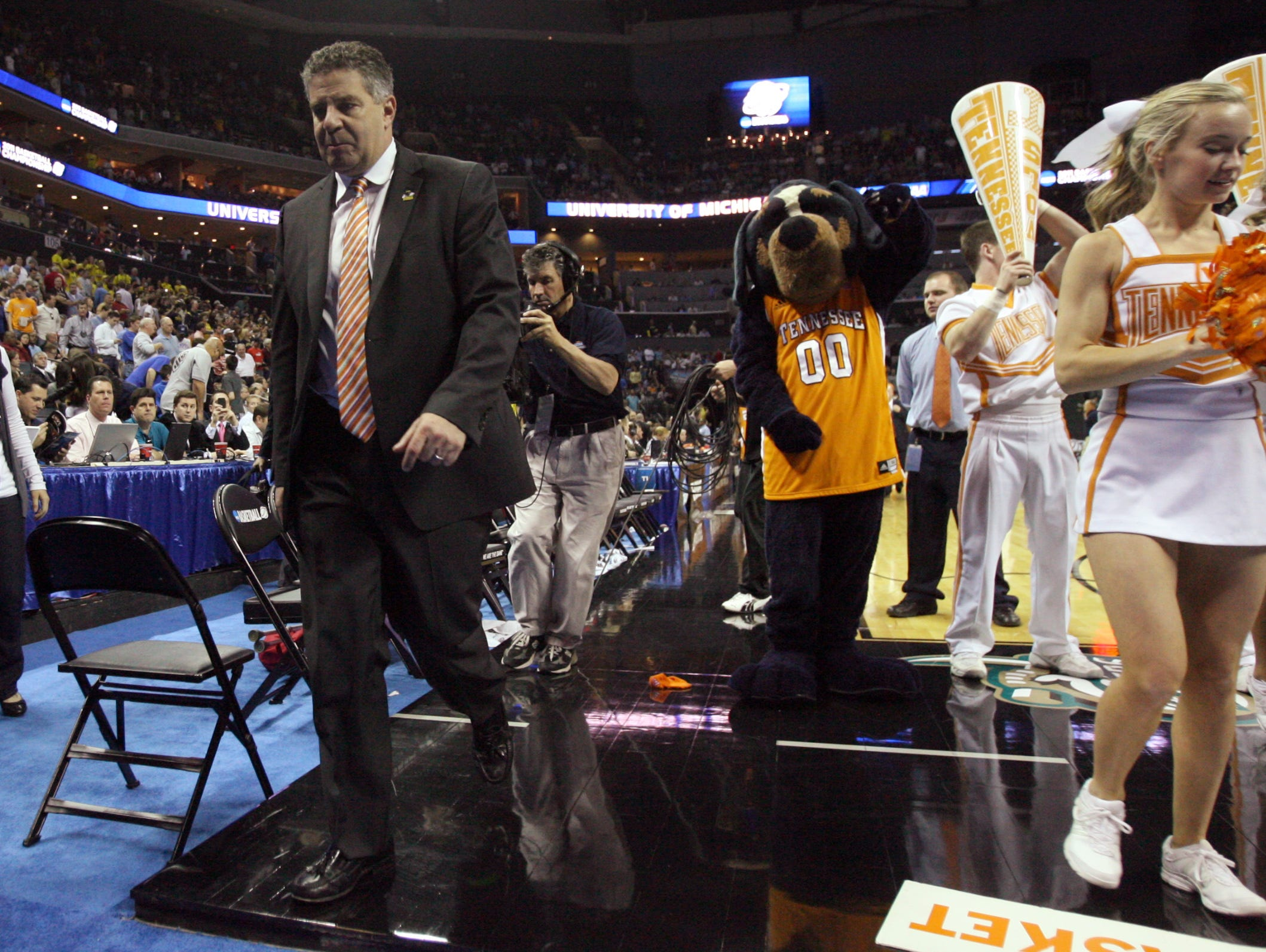 Tennessee head coach Bruce Pearl walks off the court after the Vols lost 75-45 to the Michigan Wolverines during the second round of the NCAA Tournament at Time Warner Cable Arena in Charlotte, N.C. Friday, March 18, 2011.