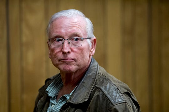 Max Benson Calhoun attends his hearing in Monroe County Criminal Court in Madisonville, Tennessee on Monday, March 18, 2019. Calhoun is charged with first-degree murder in the 1973 killing of John Raymond Constant 46 years ago.
