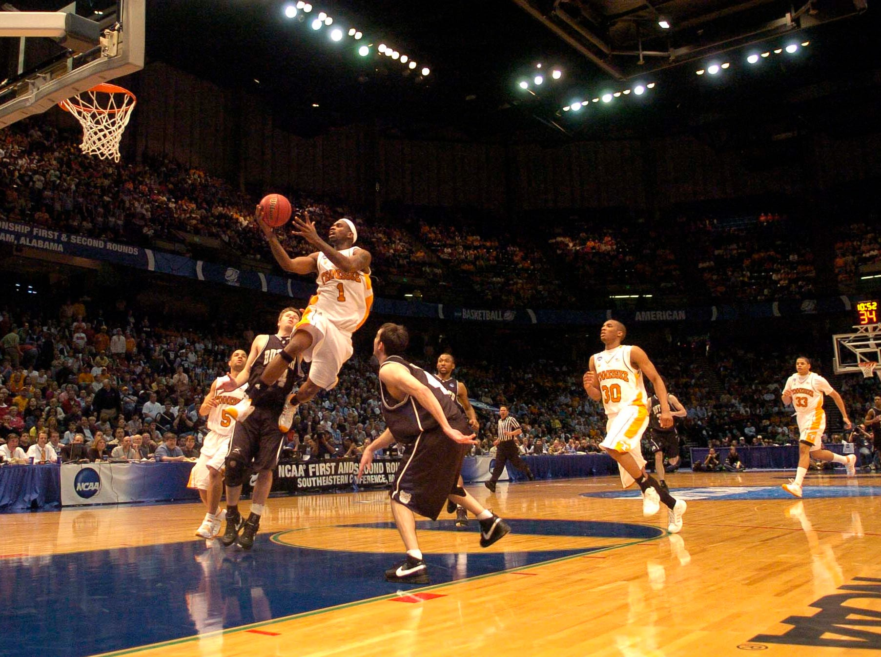 Tennessee's Tyler Smith goes for a layup against Butler's at the Birmingham Jefferson Convention Center in Birmingham, Alabama during second round play in the 2008 NCAA Tournament on Sunday. Tennessee defeated Butler 76-71 and will advance to the Sweet Sixteen in Charlotte, NC next week.
