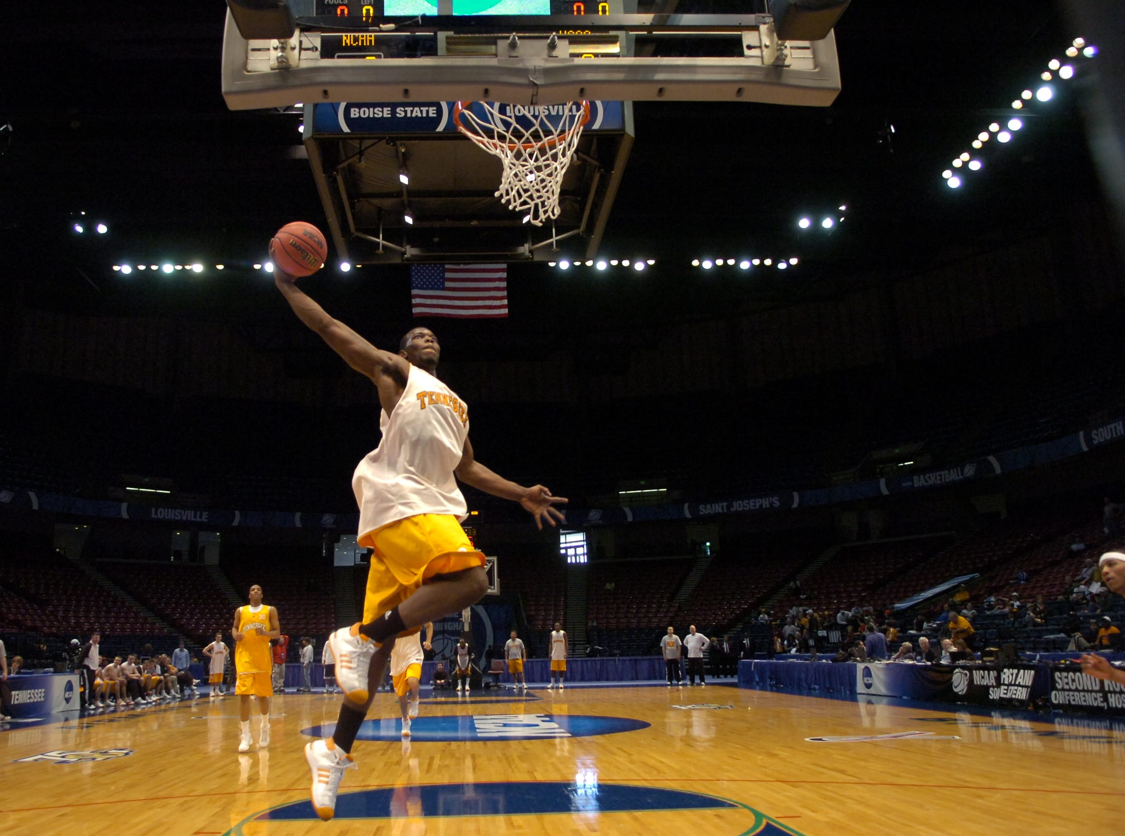 Tennessee's Duke Crews dunks the ball during a day of practice and press conferences to start the first round of the  2008 NCAA Tournament in Birmingham, Alabama on Thursday. Tennessee will face American University at 12:15EST on Friday.