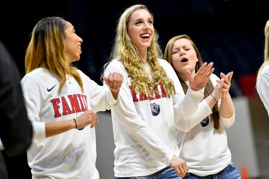Belmont guard Jenny Roy is introduced during their NCAA Tournament selection party at the Curb Event Center in Nashville, Tenn., Monday, March 18, 2019.