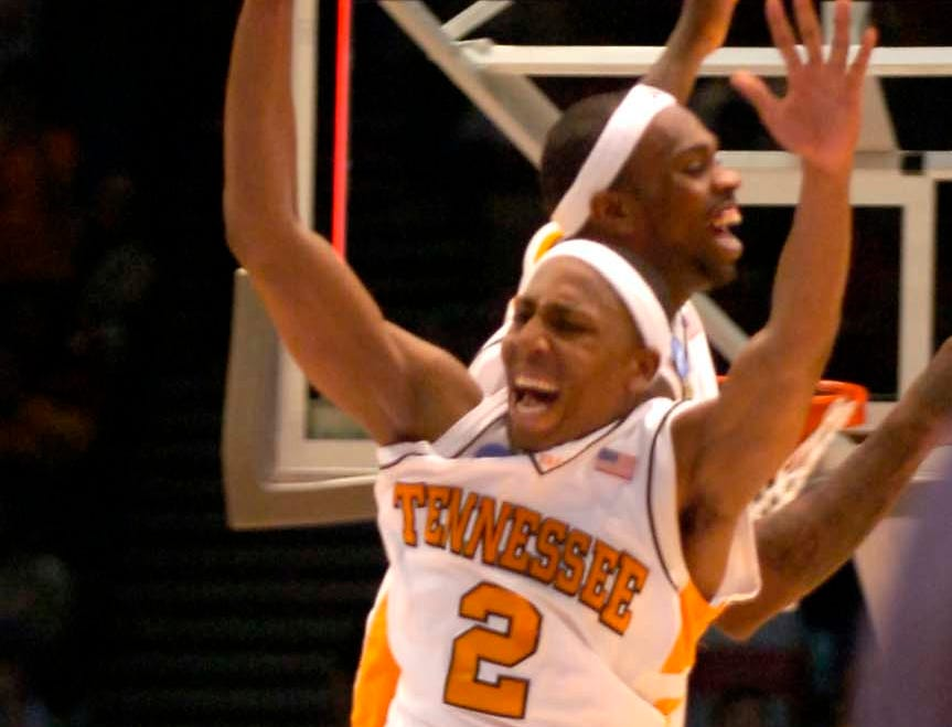Tennessee's Tyler Smith and JaJuan Smith celebrate after the win over Butler at the Birmingham Jefferson Convention Center in Birmingham, Alabama during second round play in the 2008 NCAA Tournament on Sunday. Tennessee defeated Butler 76-71 and will advance to the Sweet Sixteen in Charlotte, NC next week.