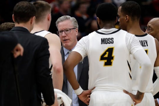 Iowa head coach Fran McCaffery today asks to his players during the first half of an NCAA college basketball game against the Illinois in the second round of the Big Ten Conference tournament, Thursday, March 14, 2019, in Chicago.