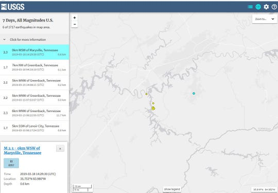 The latest earthquake to rattle East Tennessee was reported Monday morning, March 18, 2019, near Maryville.