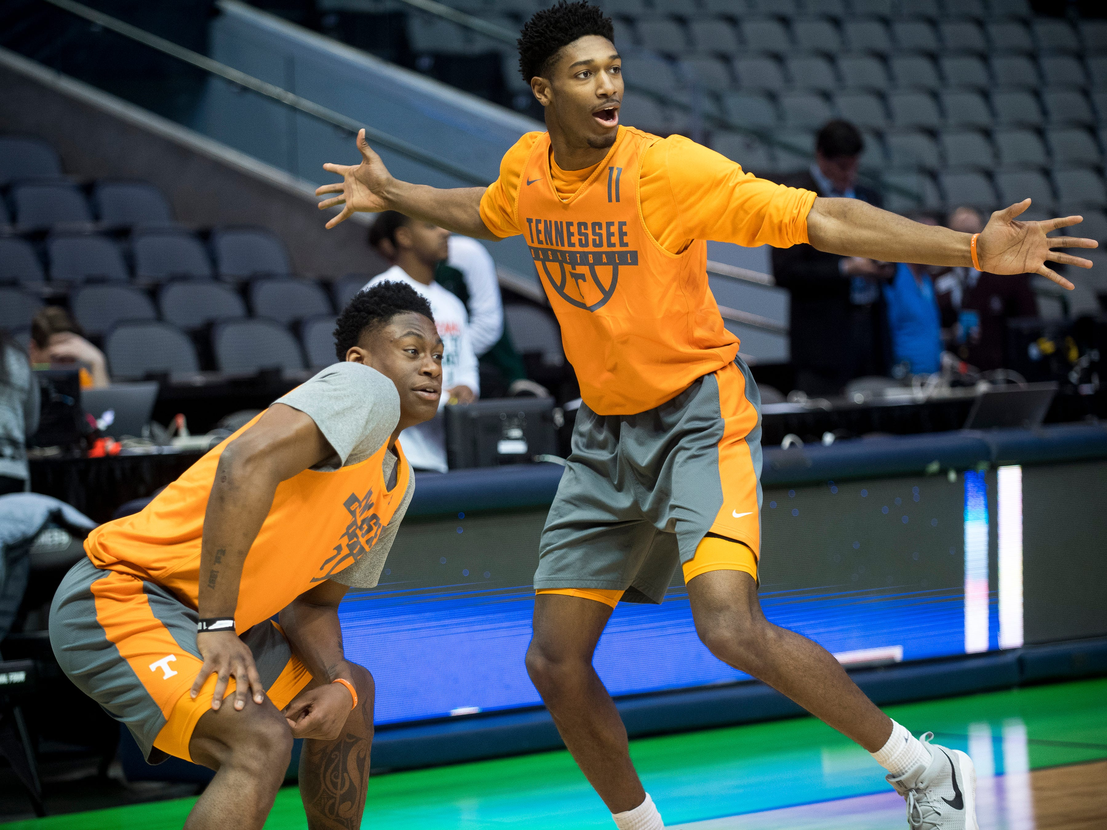 Tennessee forward Admiral Schofield (5) and Tennessee forward Kyle Alexander (11) playfully taunt their teammates during practice at American Airlines Arena on Wednesday, March 14, 2018, ahead of the NCAA Tournament first round game between Tennessee and Wright State.