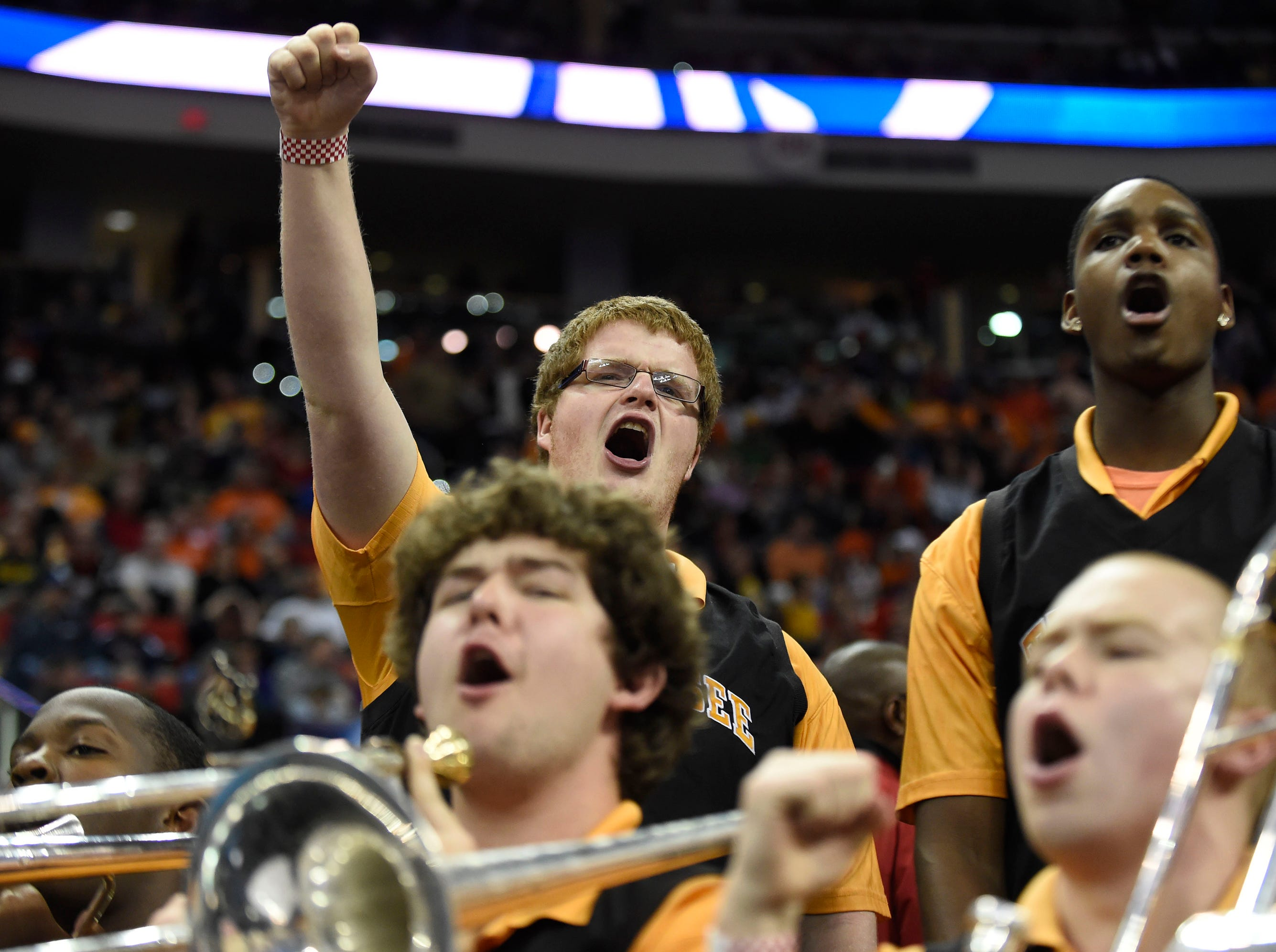 Tennessee's band cheers during their team's 83-63 defeat of Mercer in a third-round NCAA tournament game at the PNC Arena in Raleigh, N.C. on Sunday, March 23, 2014.