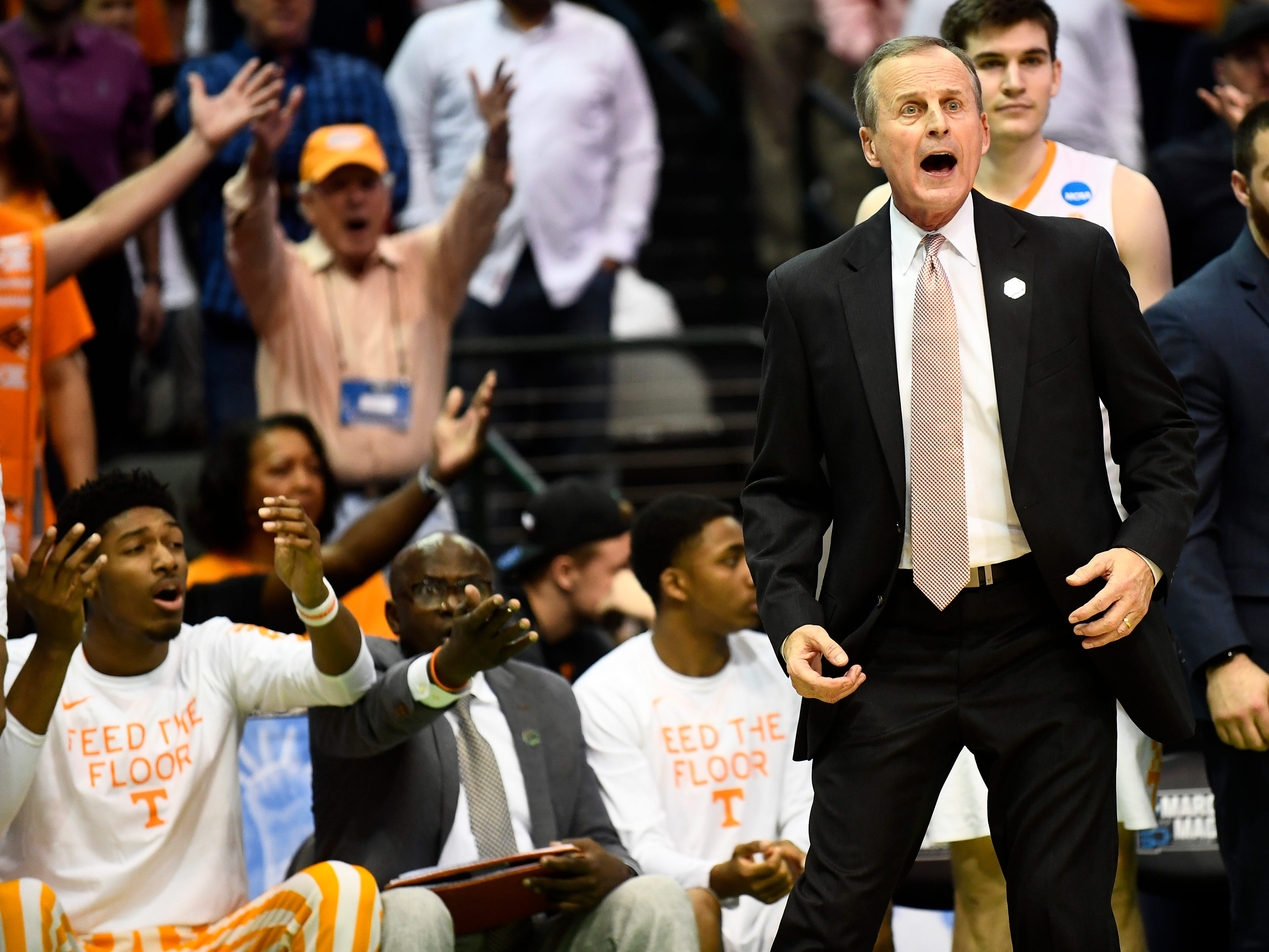 Tennessee head coach Rick Barnes shows his displeasure with a call during the NCAA Tournament second round game between Tennessee and Loyola-Chicago at American Airlines Center in Dallas, Texas, on Saturday, March 17, 2018.