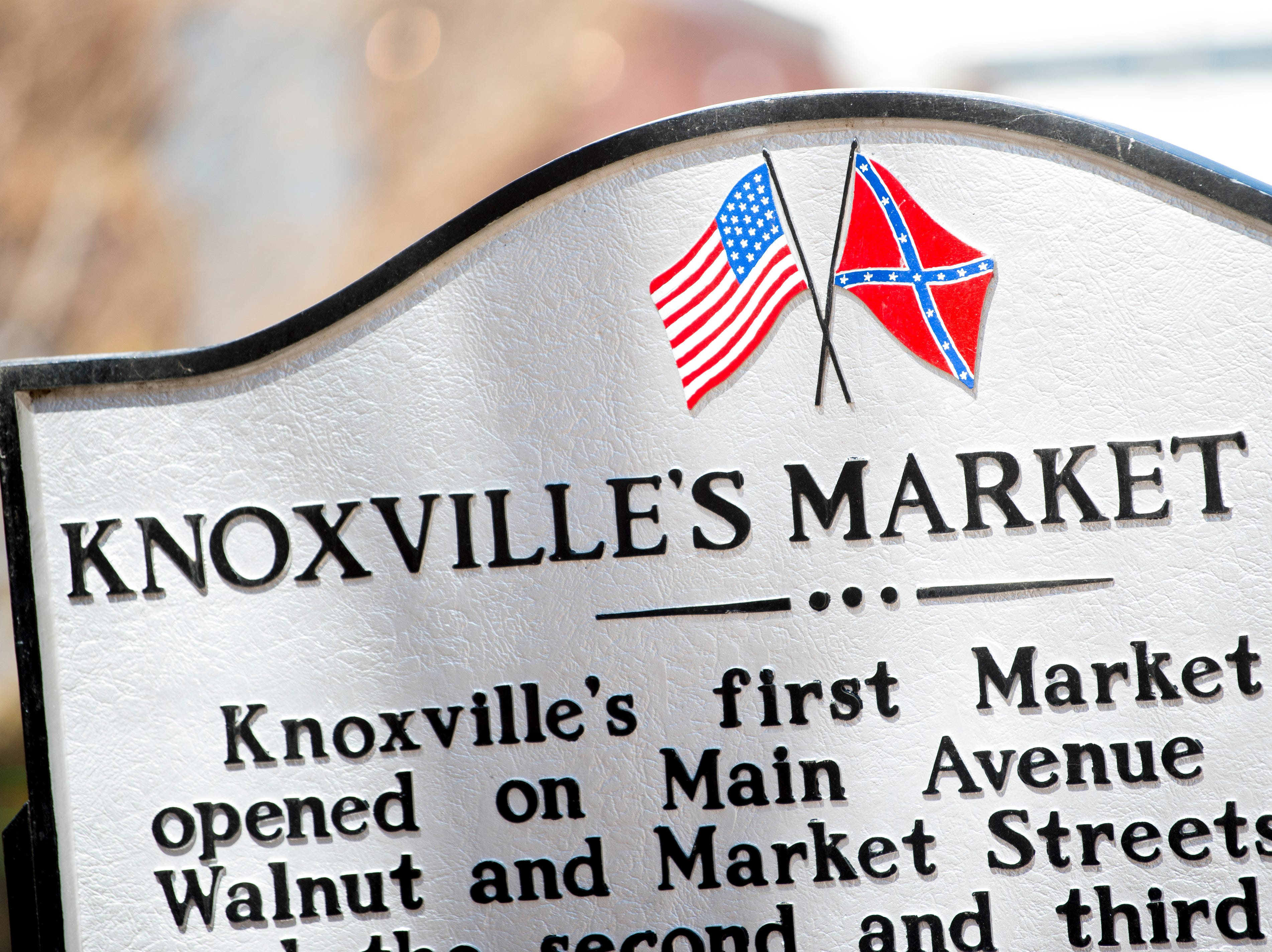 A sign commemorating Knoxville's first Market House in Market Square in downtown Knoxville, Tennessee on Monday, March 18, 2019.