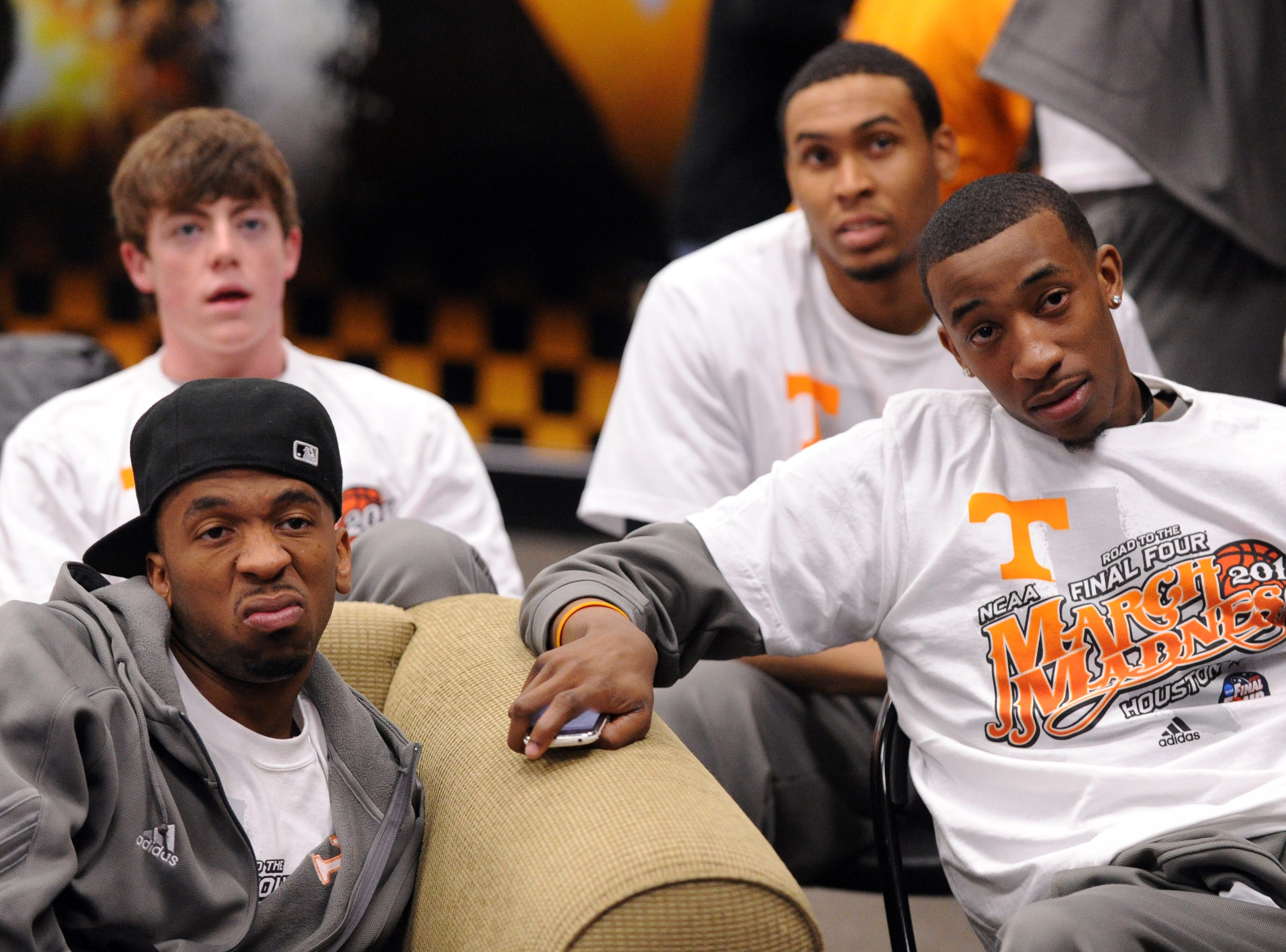 From left, Tennessee's Cameron Tatum, Tyler Summitt, John Fields, and Jordan McRae wait for the results of the NCAA selection shot during a viewing party at Thompson-Boling Arena on Sunday, March 13, 2011. Tennessee earned a #9 seed in the West Region of the NCAA tournament.