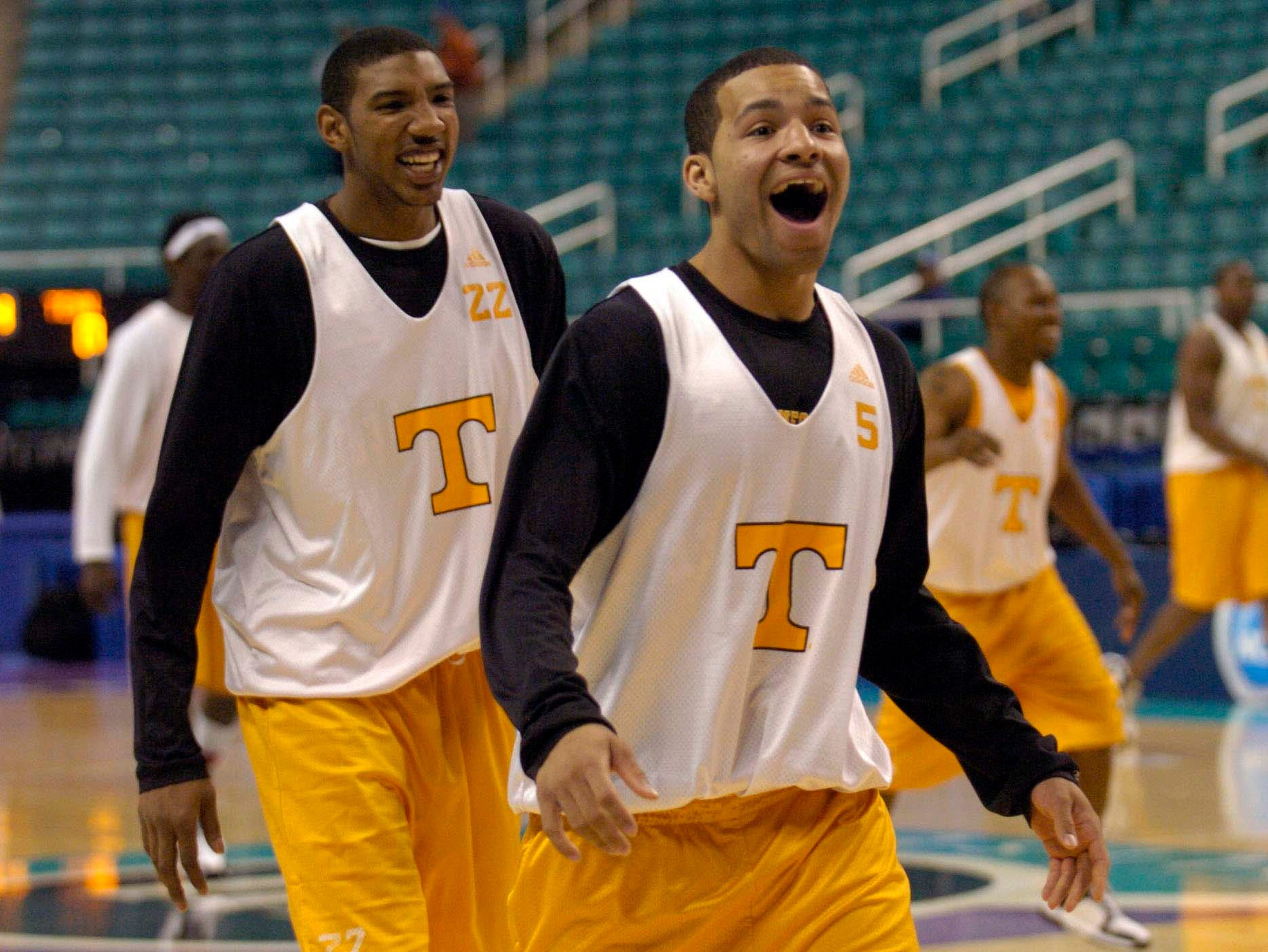 Tennessee teammates Chris Lofton (right) and Andre Patterson share a laugh during practice Wednesday at the Greensboro, N.C., Coliseum. UT will face Winthrop in the opening round of the 2006 NCAA tournament on Thursday.