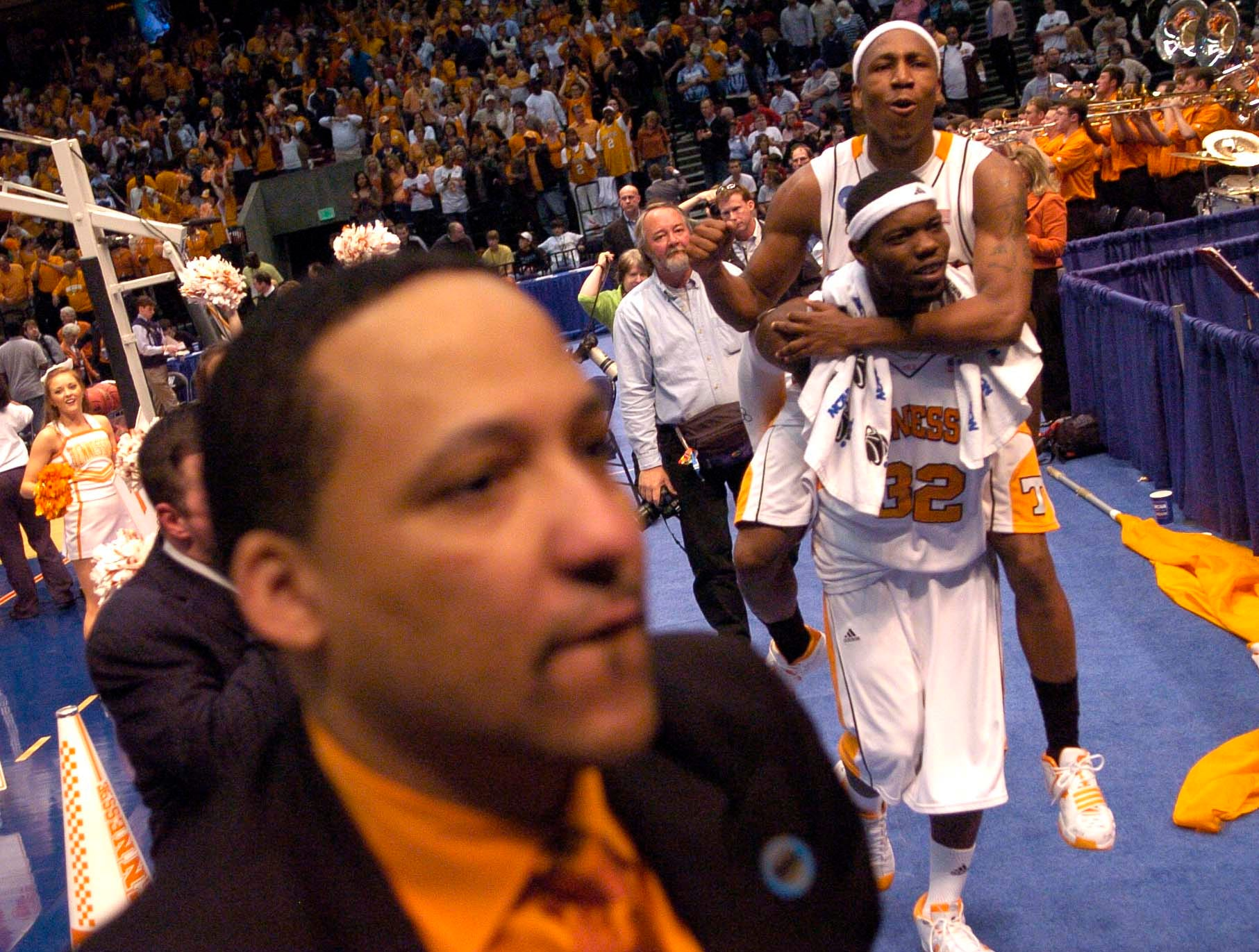 Tennessee's JaJuan Smith and Duke Crews celebrate after the win over Butler at the Birmingham Jefferson Convention Center in Birmingham, Alabama during second round play in the 2008 NCAA Tournament on Sunday. Tennessee defeated Butler 76-71 and will advance to the Sweet Sixteen in Charlotte, NC next week.