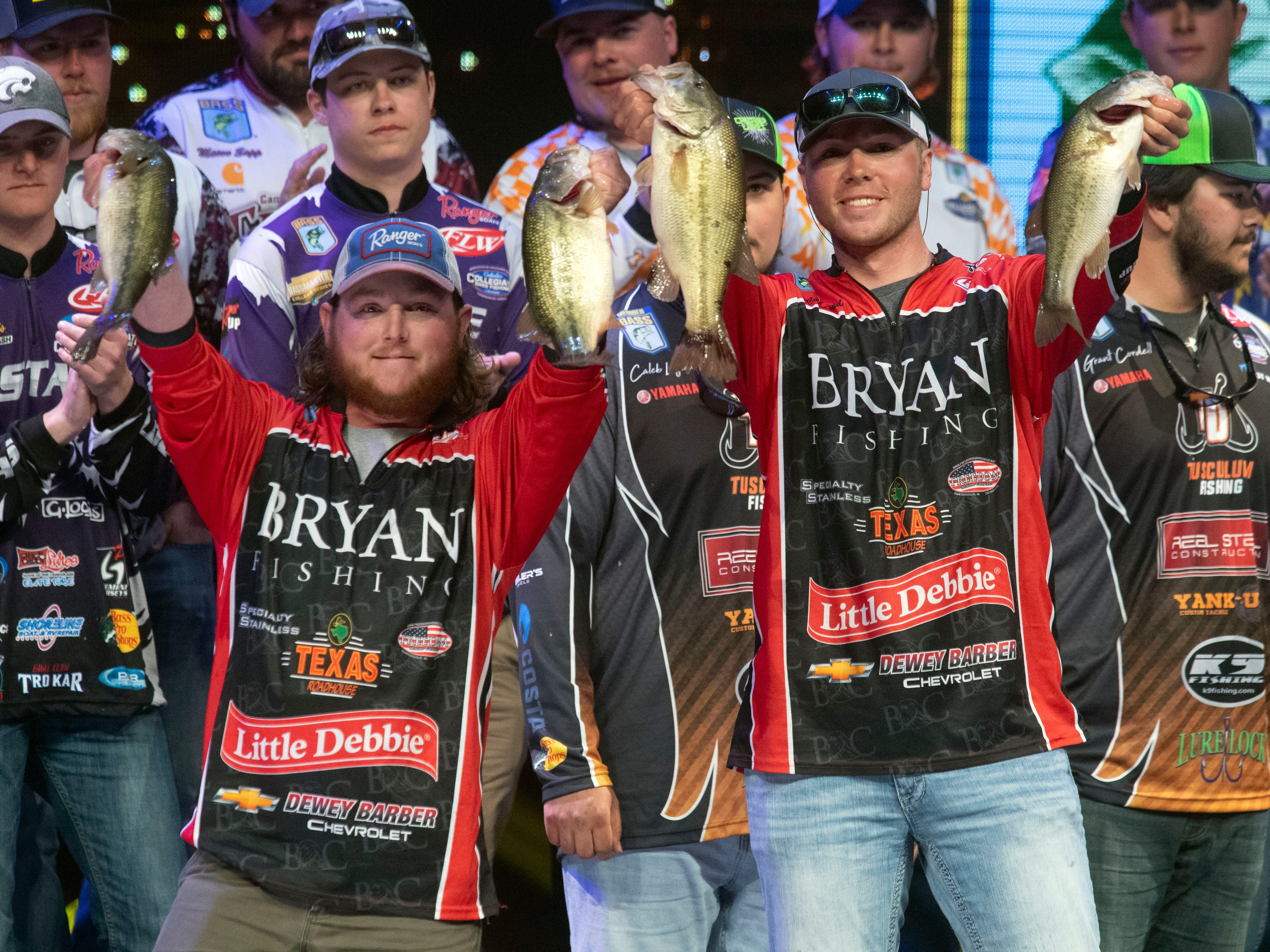 Bryan College's Cole Sands and Bailey Fain win the Bassmaster College Classic at Thompson-Boling Arena on Sunday, March 17, 2019.