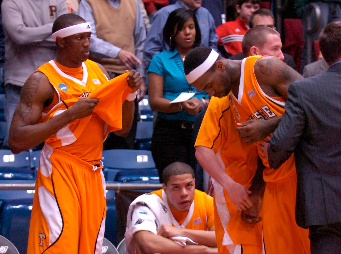 Tennessee's Tyler Smith goes to the bench after missing a shot for three points with one second remaining against Oklahoma State during the first round of the 2009 NCAA tournament in Dayton, OH on Friday. UT lost the game 77-75 ending their post season play.
