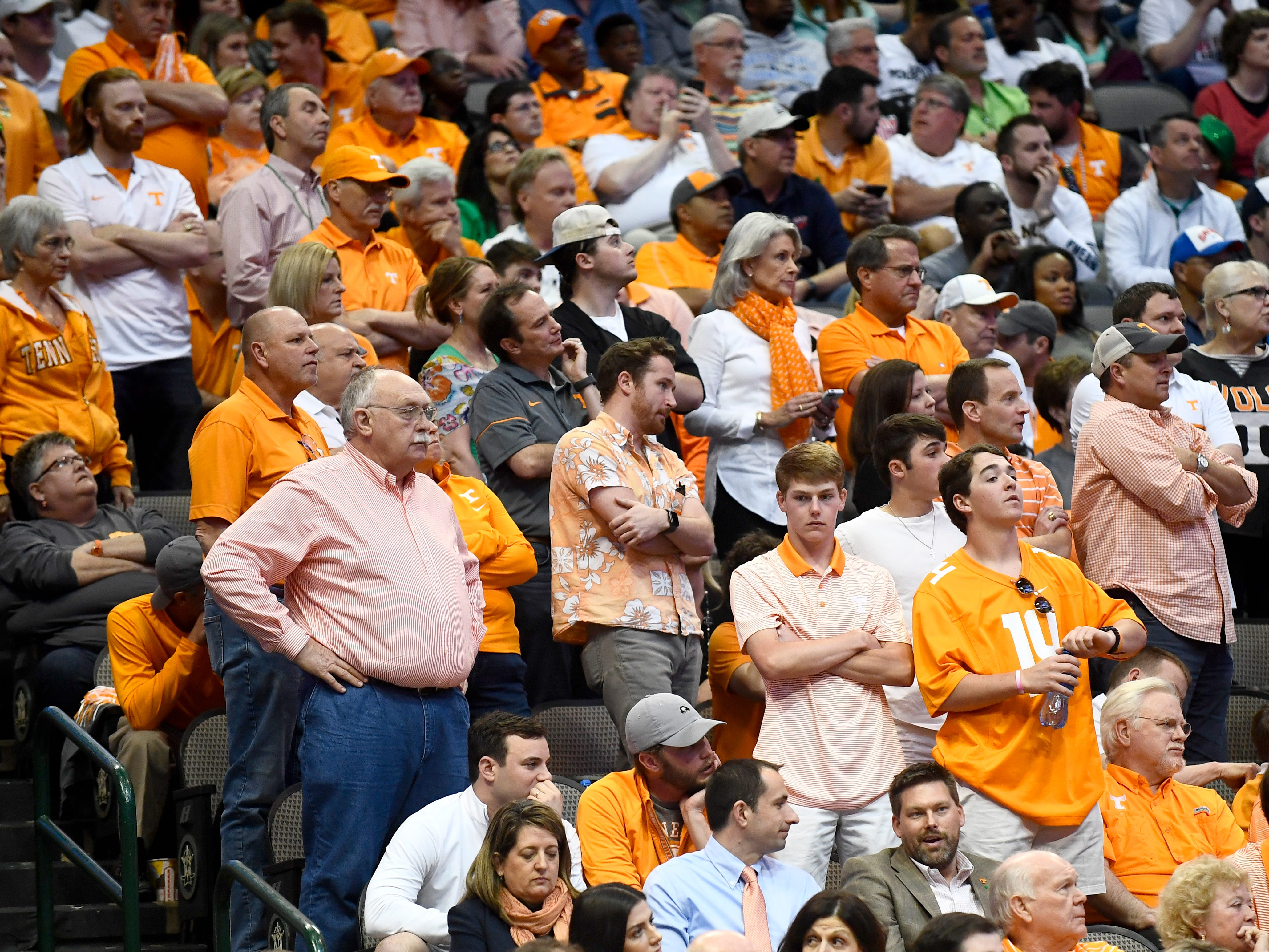 Tennessee fans react during the NCAA Tournament second round game between Tennessee and Loyola-Chicago at American Airlines Center in Dallas, Texas, on Saturday, March 17, 2018.