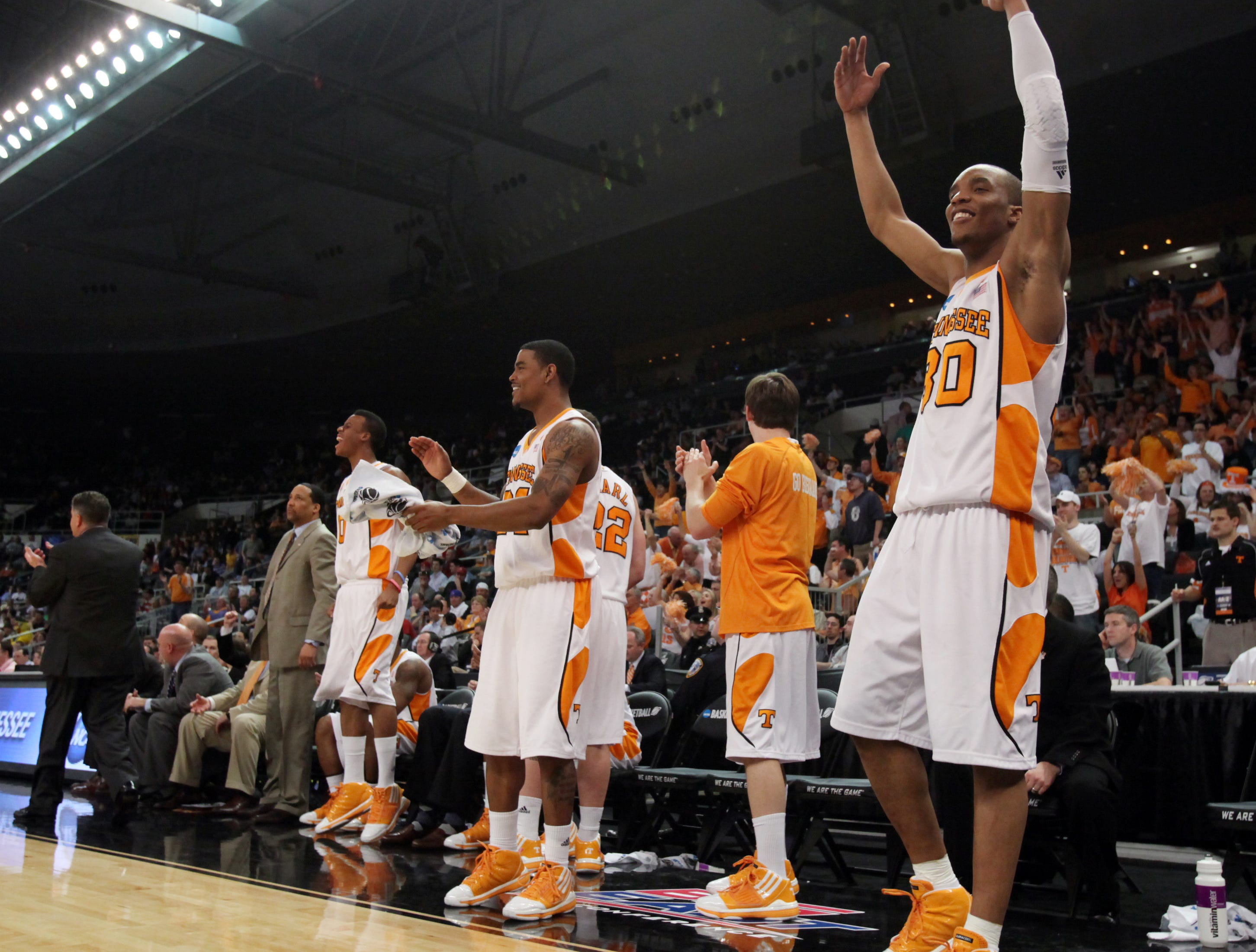 Tennessee's J.P. Prince celebrates as the Vols close out a 83-68 win over the Ohio Bobcats during the second round of the NCAA tournament in Providence, R.I. Saturday, Mar. 20, 2010.