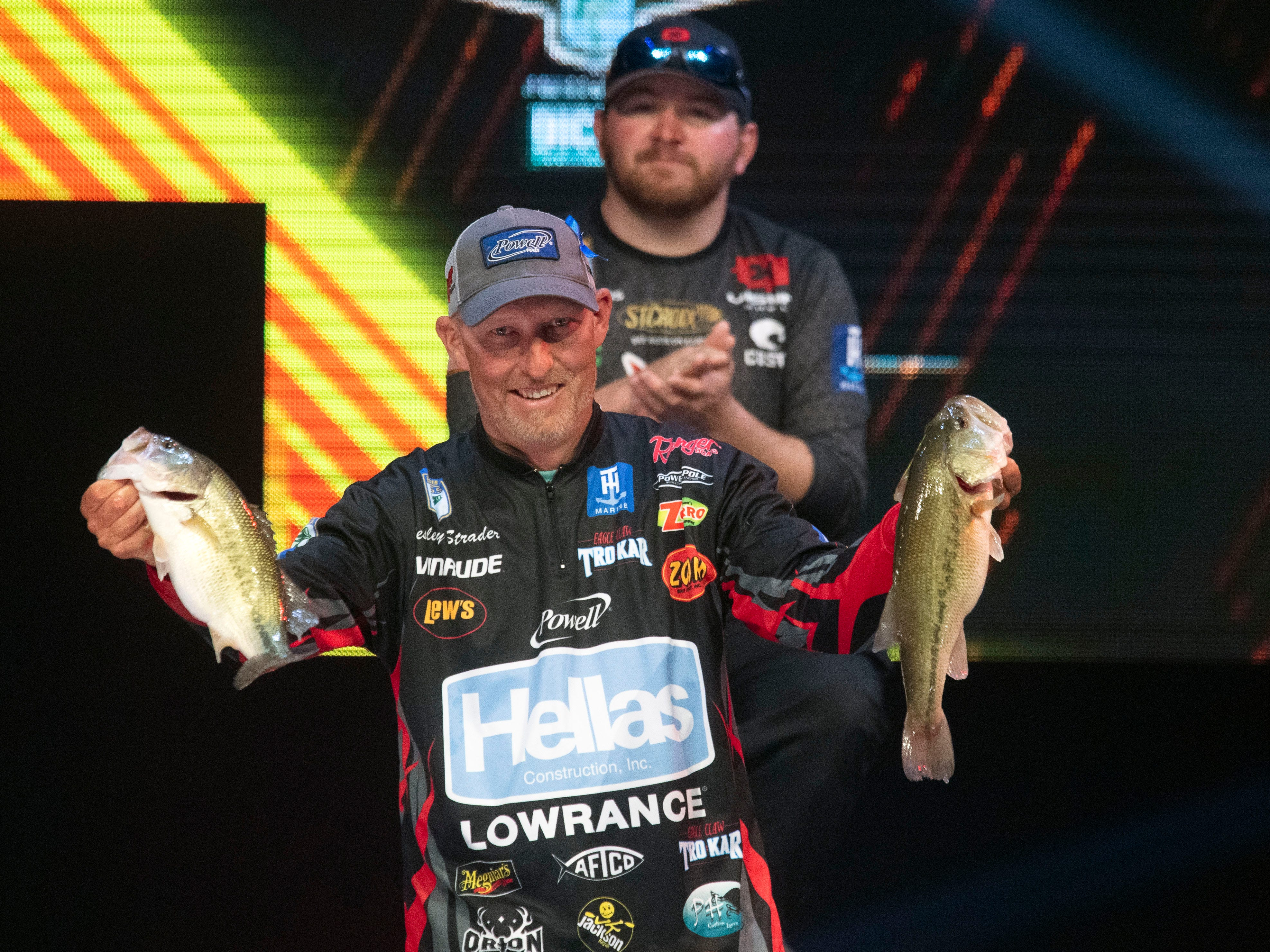 Spring City, TN native Wesley Strader show his two best catches at the final wiegh-in of the Bassmaster Classic at Thompson-Boling Arena on Sunday, March 17, 2019. Strader came in 7th place with bass weighing a total of 39 pounds, 8 ounces in three days of competition.