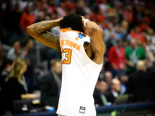 Tennessee guard Jordan Bowden (23) walks off the court after the Vols lost 63-62 to Loyola-Chicago during the NCAA Tournament second round game at American Airlines Center in Dallas, Texas, on Saturday, March 17, 2018.