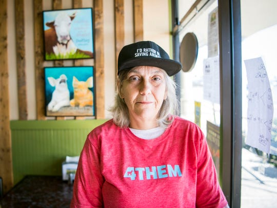 Leslie Naylor, owner of Sanctuary Vegan Cafe, inside her restaurant in West Knoxville on Monday, March 18, 2019.