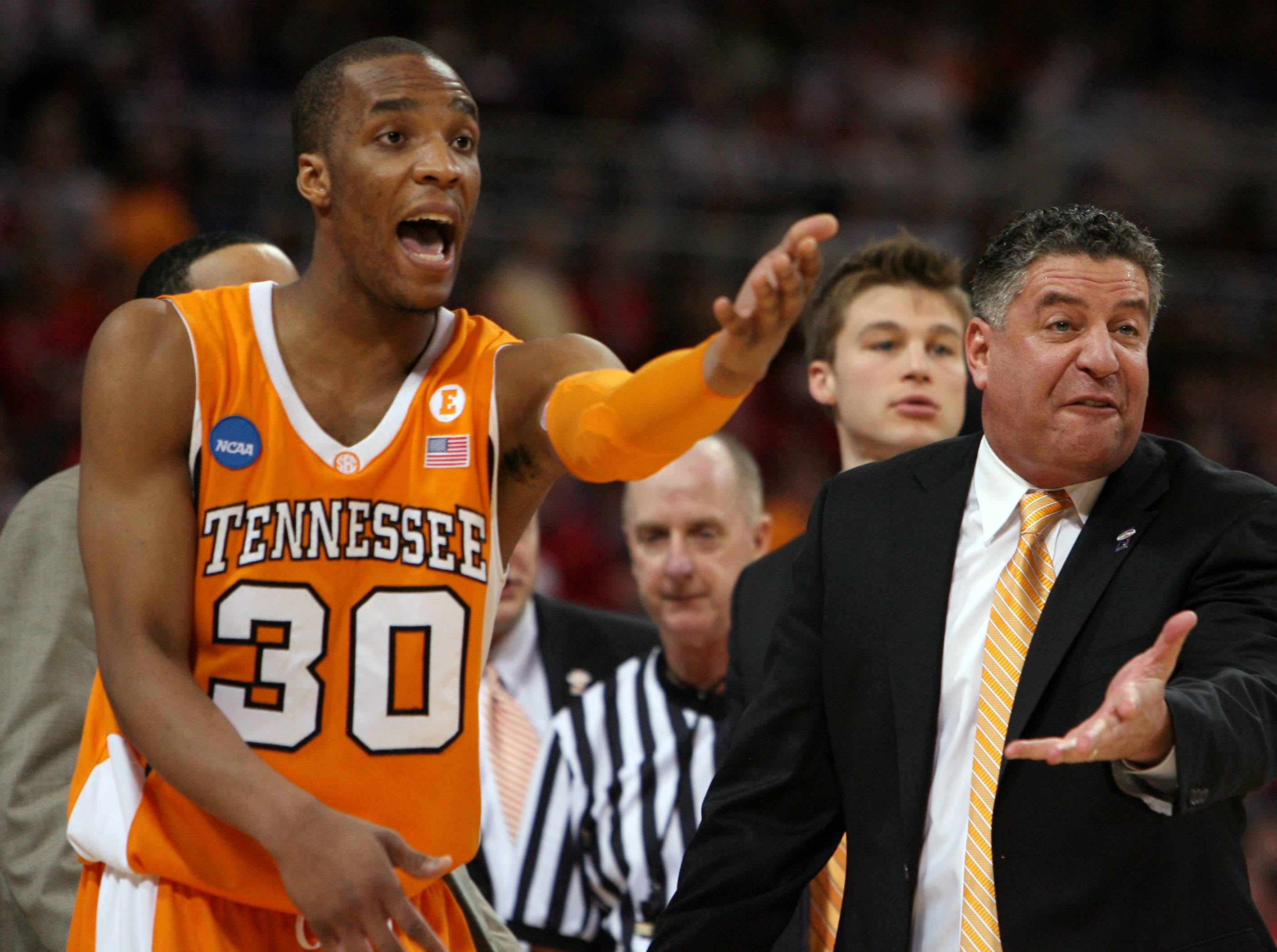 Tennessee's J.P. Prince and coach Bruce Pearl react to a foul called against the Vols during the game against Ohio State at the NCAA tournament Sweet Sixteen at the Edward Jones Dome in St. Louis, Mo., Friday, Mar. 26, 2010.