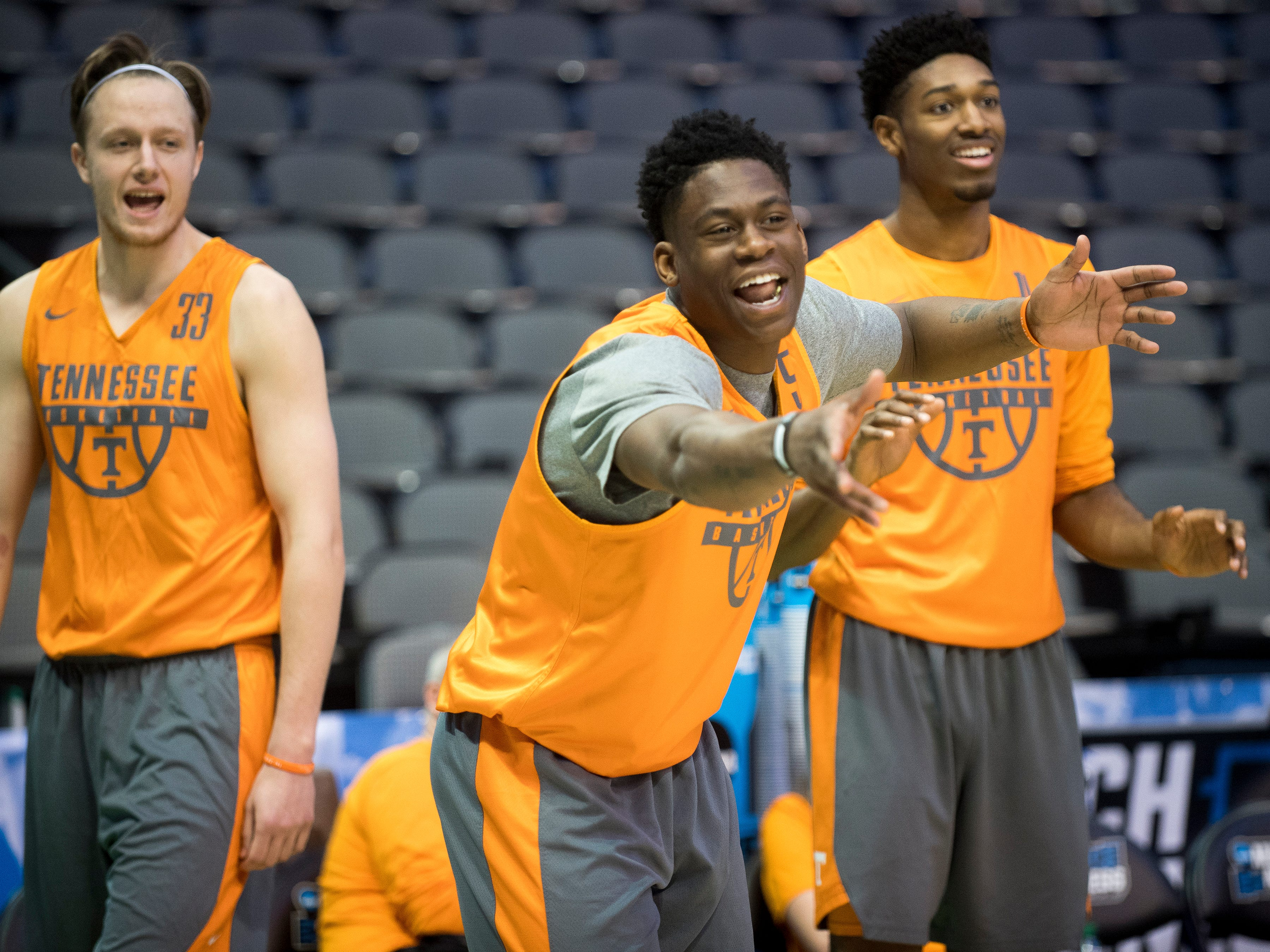 Tennessee forward Admiral Schofield (5), Tennessee forward Kyle Alexander (11) and Tennessee forward Zach Kent (33) playfully taunt their teammates during practice at American Airlines Arena on Wednesday, March 14, 2018, ahead of the NCAA Tournament first round game between Tennessee and Wright State.