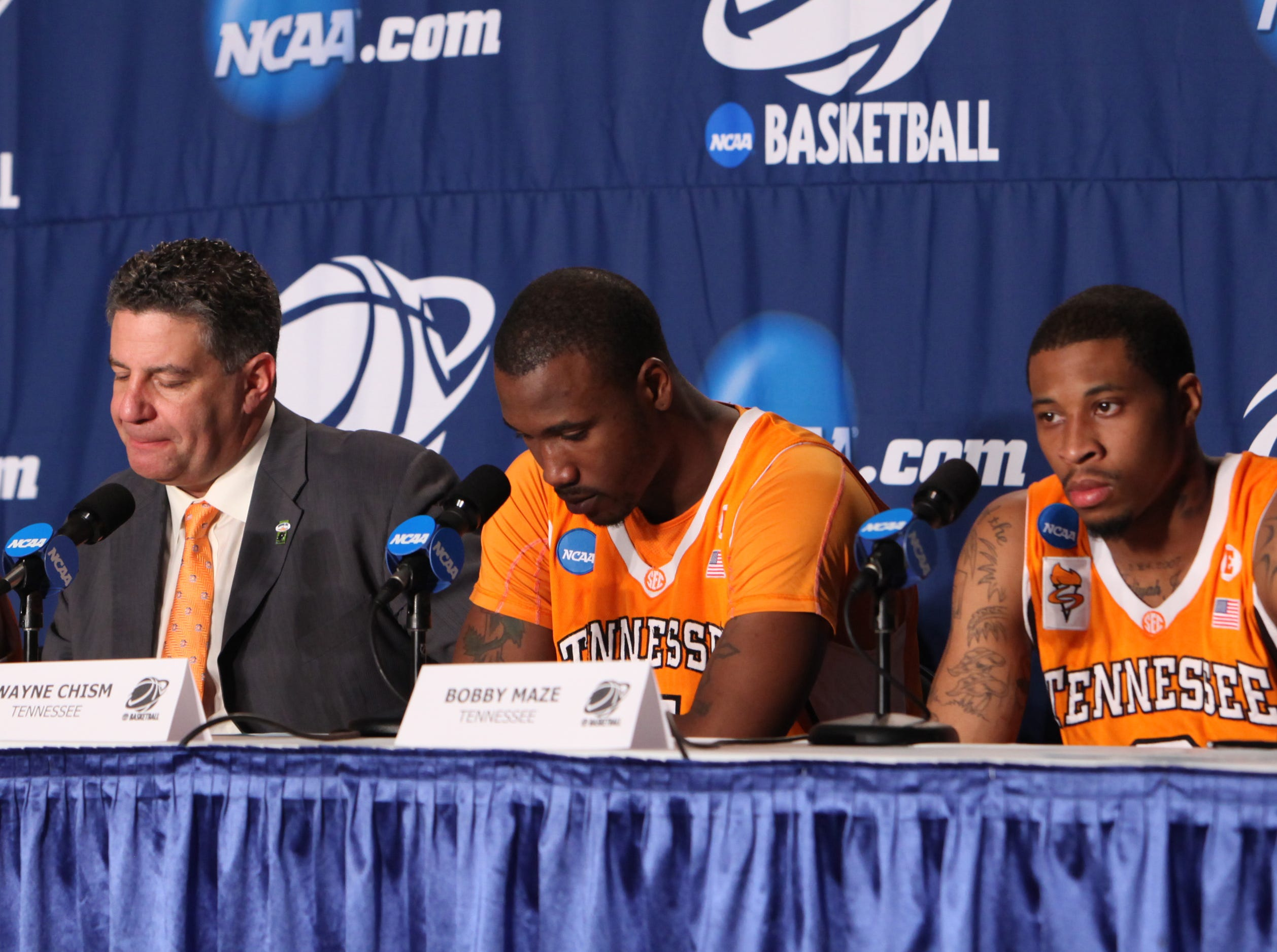 Tennessee's J.P. Prince, coach Bruce Pearl, Wayne Chism and Bobby Maze attend a press conference after the Vols lost to the Michigan State Spartans during the NCAA tournament at the Edward Jones Dome in St. Louis, Mo., Sunday, Mar. 28, 2010.
