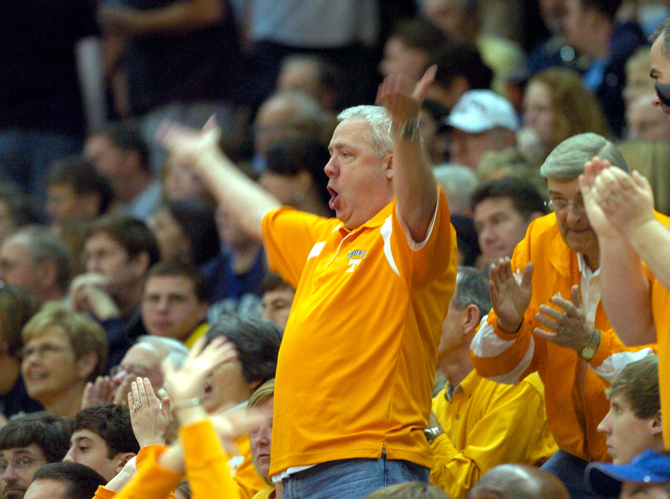 Tennessee fan tries to pump up the crowd against American University during first round competition of the 2008 NCAA Tournament in Birmingham on Friday. Tennessee won the game 72-57 and advance to play the winner of Butler vs. South Alabama.