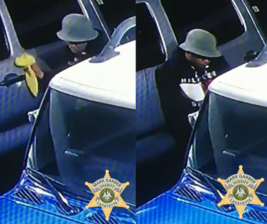 Police are searching for a man who allegedly broke into a vehicle in Lafayette.