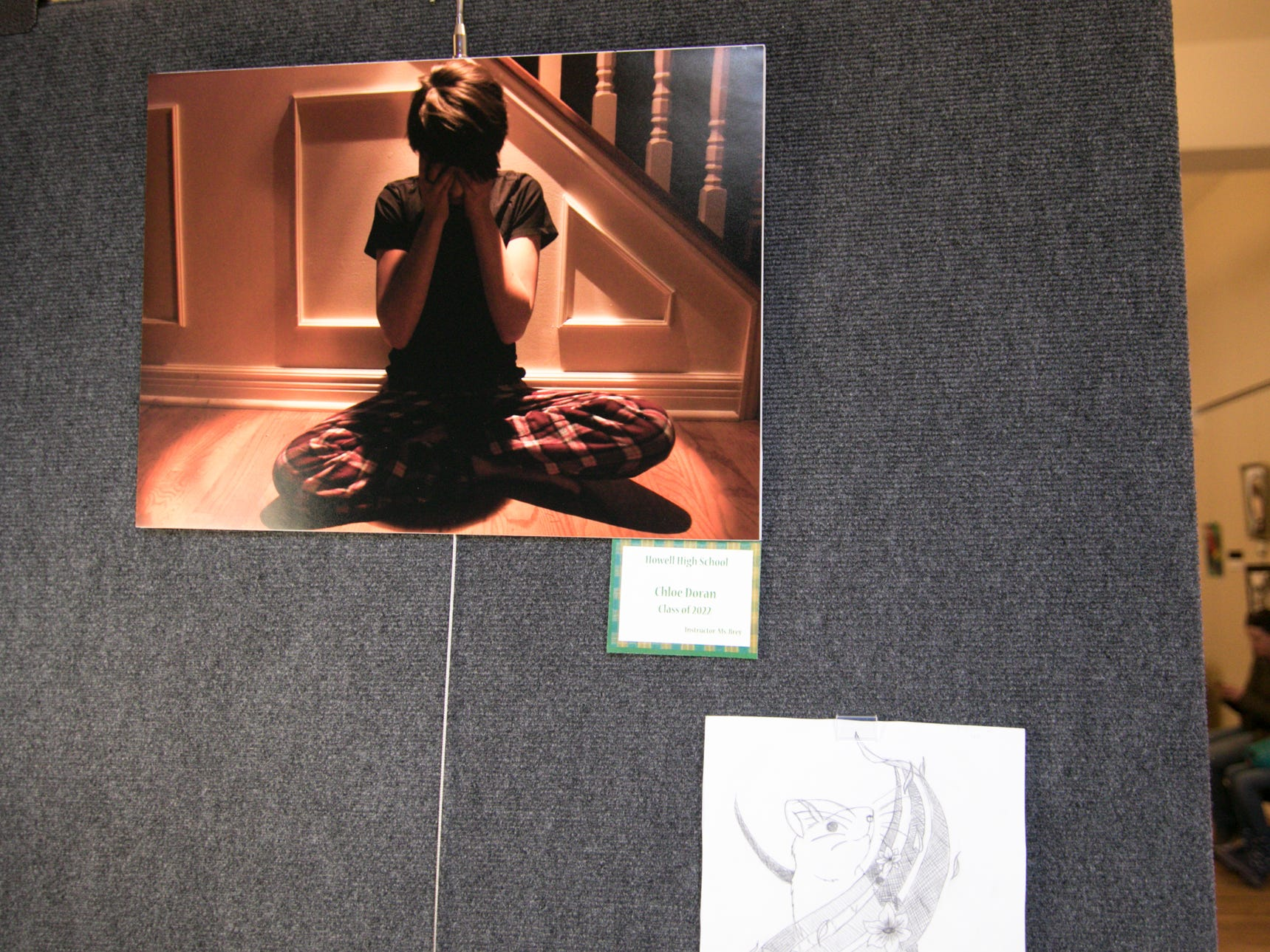 A photograph by Howell High School sophomore Chloe Doran, and a drawing by MaKaila Kramp are among the works on display at the 'Got Art' exhibit, shown Friday, March 8, 2019 at the Howell Opera House.