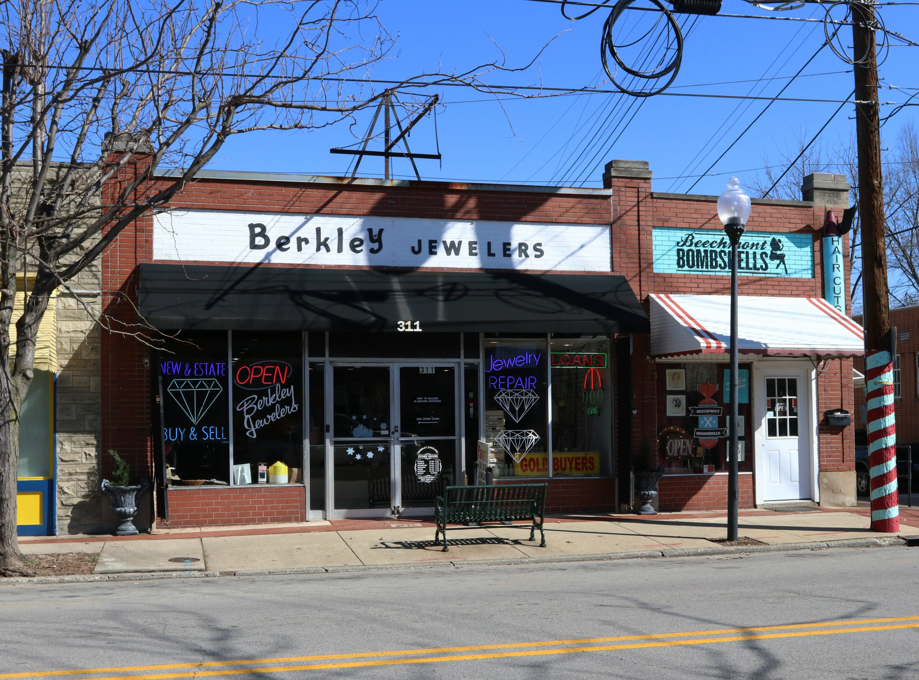 Berkley Jewelers and Beechmont Bombshells are located on Woodlawn Avenue in Louisville's Beechmong neighborhood. 3/16/19