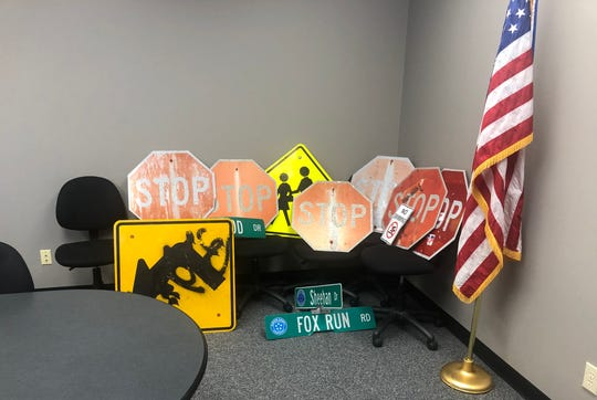 Oldham County Police say these signs were some of the ones stolen by area teenagers as a part of a social media challenge.
