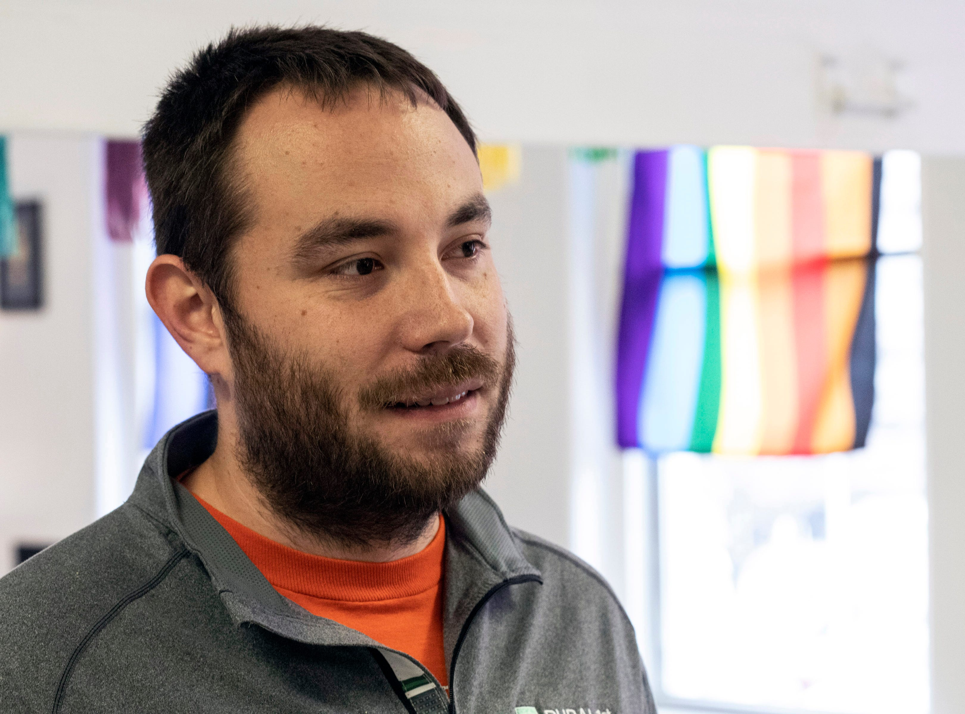 Andre Barrie works for Ignite Louisville and assisted in the opening of a new LGBTQIA+ safe space at 417 East Broadway. 3/15/19